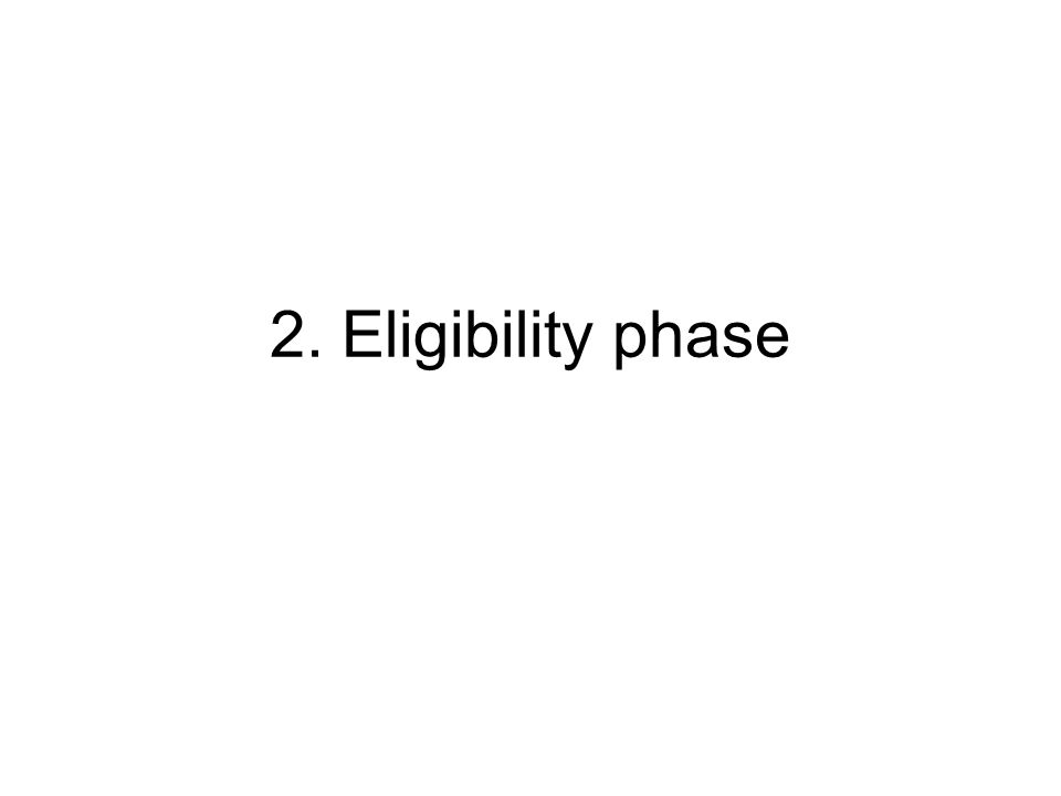 Eligibility phase Checking the general eligibility criteria and the completeness of the proposal forms submitted Check of the financial annexes submitted (applicants other than public authorities) Request for additional information by e-mail if: - financial annexes are incomplete/missing - not more than one form is missing/incomplete - obligatory signatures are missing
