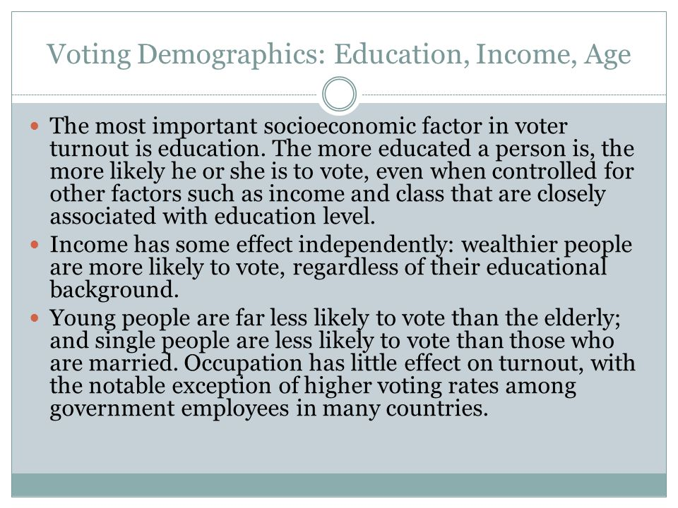 Voting Demographics: Education, Income, Age The most important socioeconomic factor in voter turnout is education. The more educated a person is, the