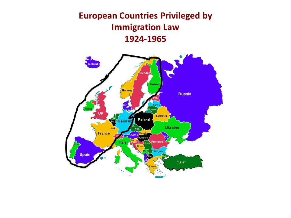 European Countries Privileged by Immigration Law 1924-1965
