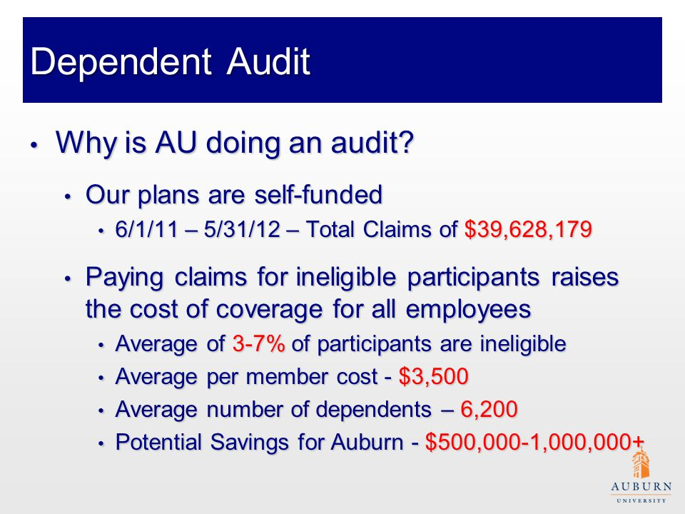Dependent Audit Has it worked for others.Has it worked for others.