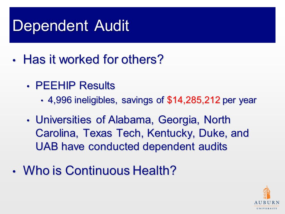 Dependent Audit Has it worked for others. Has it worked for others.