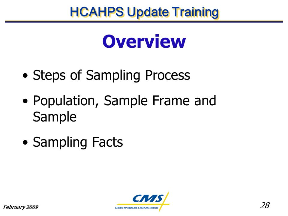 28 HCAHPS Update Training February 2009 Overview Steps of Sampling Process Population, Sample Frame and Sample Sampling Facts