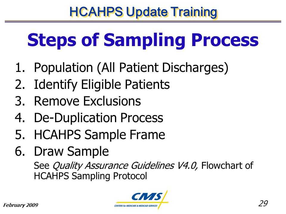 29 HCAHPS Update Training February 2009 Steps of Sampling Process 1.Population (All Patient Discharges) 2.Identify Eligible Patients 3.Remove Exclusions 4.De-Duplication Process 5.HCAHPS Sample Frame 6.Draw Sample See Quality Assurance Guidelines V4.0, Flowchart of HCAHPS Sampling Protocol