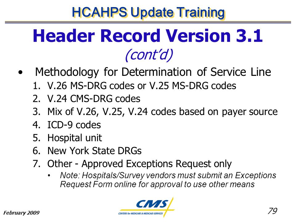 79 HCAHPS Update Training February 2009 Header Record Version 3.1 (cont'd) Methodology for Determination of Service Line 1.V.26 MS-DRG codes or V.25 MS-DRG codes 2.V.24 CMS-DRG codes 3.Mix of V.26, V.25, V.24 codes based on payer source 4.ICD-9 codes 5.Hospital unit 6.New York State DRGs 7.Other - Approved Exceptions Request only Note: Hospitals/Survey vendors must submit an Exceptions Request Form online for approval to use other means