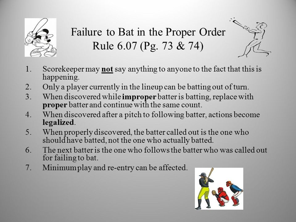 Failure to Bat in the Proper Order Rule 6.07 (Pg.