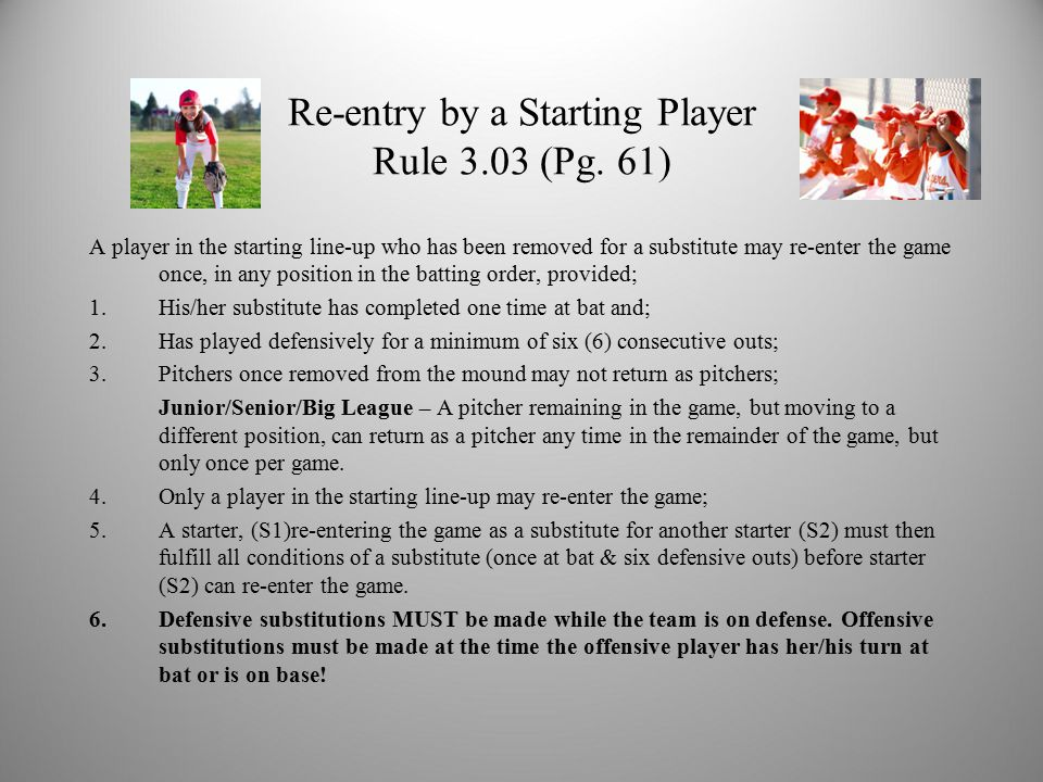 Re-entry by a Starting Player Rule 3.03 (Pg.