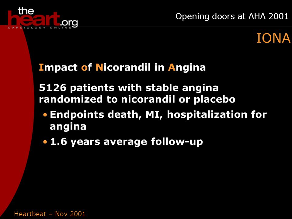 Heartbeat – Nov 2001 Opening doors at AHA 2001 IONA Impact of Nicorandil in Angina 5126 patients with stable angina randomized to nicorandil or placebo Endpoints death, MI, hospitalization for angina 1.6 years average follow-up