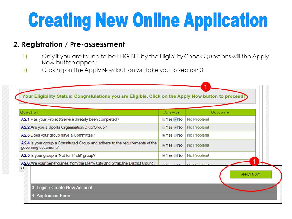 2. Registration / Pre-assessment 1)Only if you are found to be ELIGIBLE by the Eligibility Check Questions will the Apply Now button appear 2)Clicking
