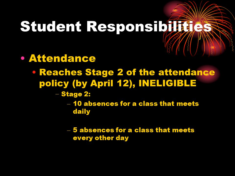 Student Responsibilities Attendance Reaches Stage 2 of the attendance policy (by April 12), INELIGIBLE − Stage 2: – 10 absences for a class that meets daily – 5 absences for a class that meets every other day