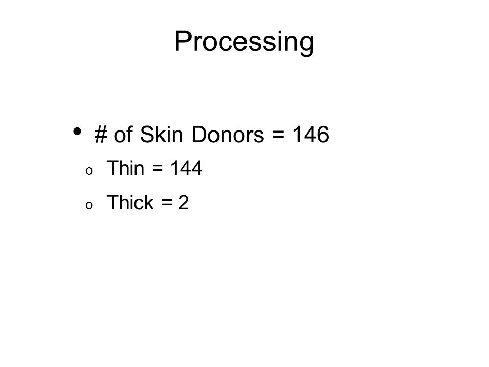 # of Skin Donors = 146 o Thin = 144 o Thick = 2 Processing