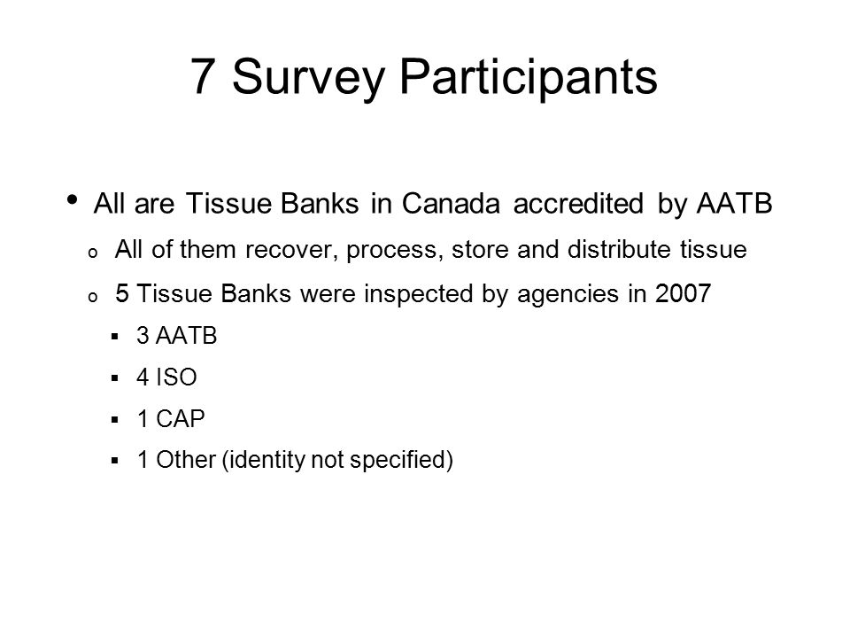 Was your tissue bank inspected in 2007? Yes = 5 (71.4%)