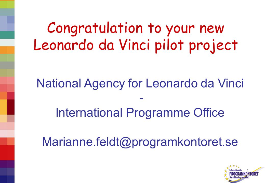 1 Congratulation to your new Leonardo da Vinci pilot project National Agency for Leonardo da Vinci - International Programme Office Marianne.feldt@programkontoret.se