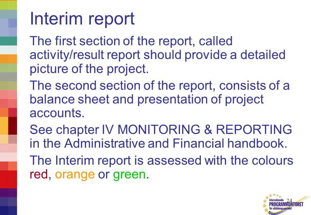 24 Interim report The first section of the report, called activity/result report should provide a detailed picture of the project.