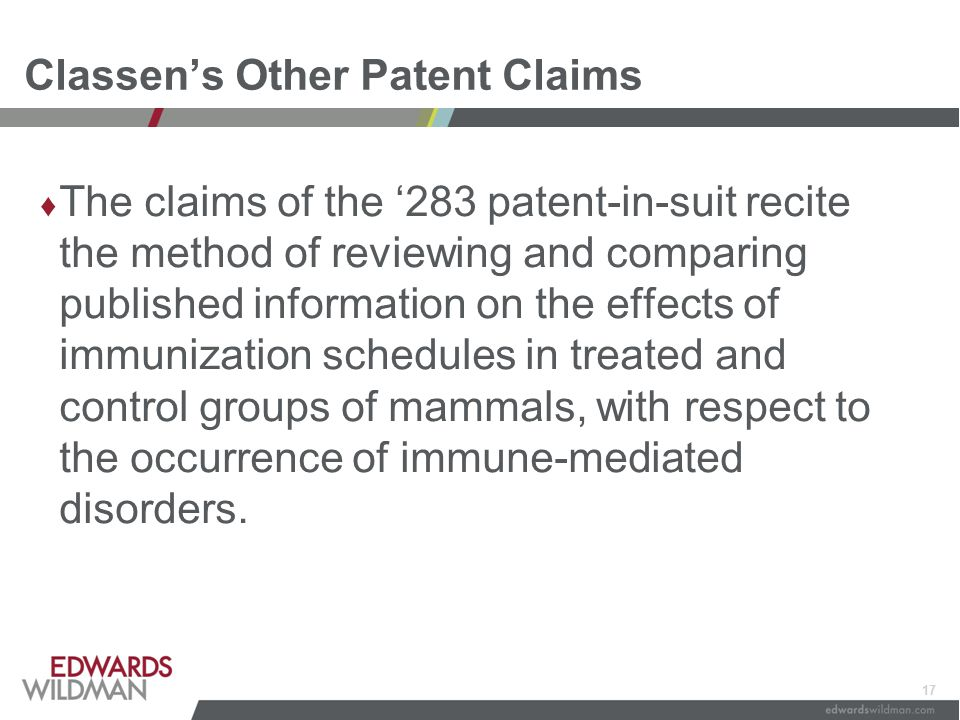 17 Classen's Other Patent Claims ♦ The claims of the '283 patent-in-suit recite the method of reviewing and comparing published information on the eff