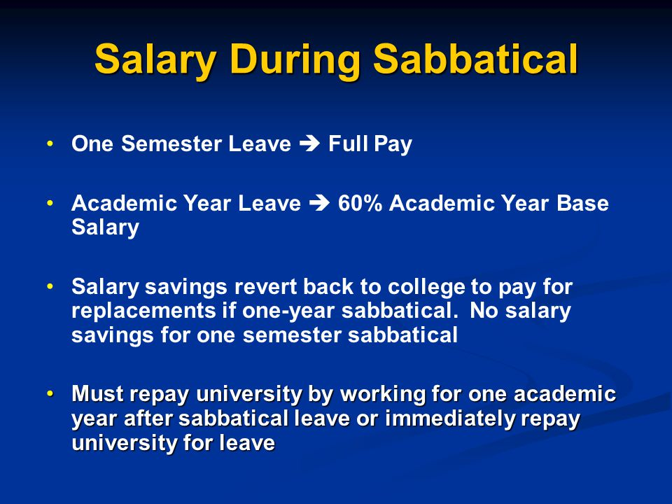 Salary During Sabbatical One Semester Leave  Full Pay Academic Year Leave  60% Academic Year Base Salary Salary savings revert back to college to pay for replacements if one-year sabbatical.