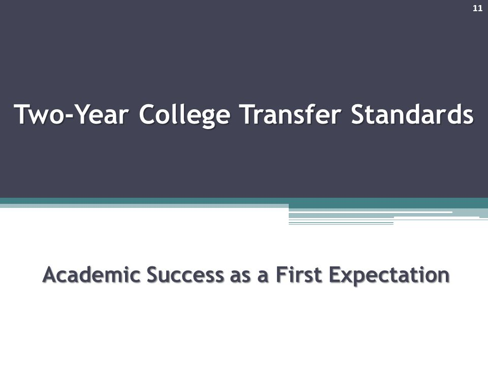 Two-Year College Transfer Standards Academic Success as a First Expectation 11