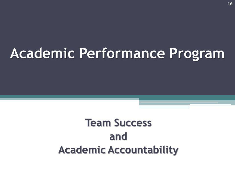 Academic Performance Program Team Success and Academic Accountability 18
