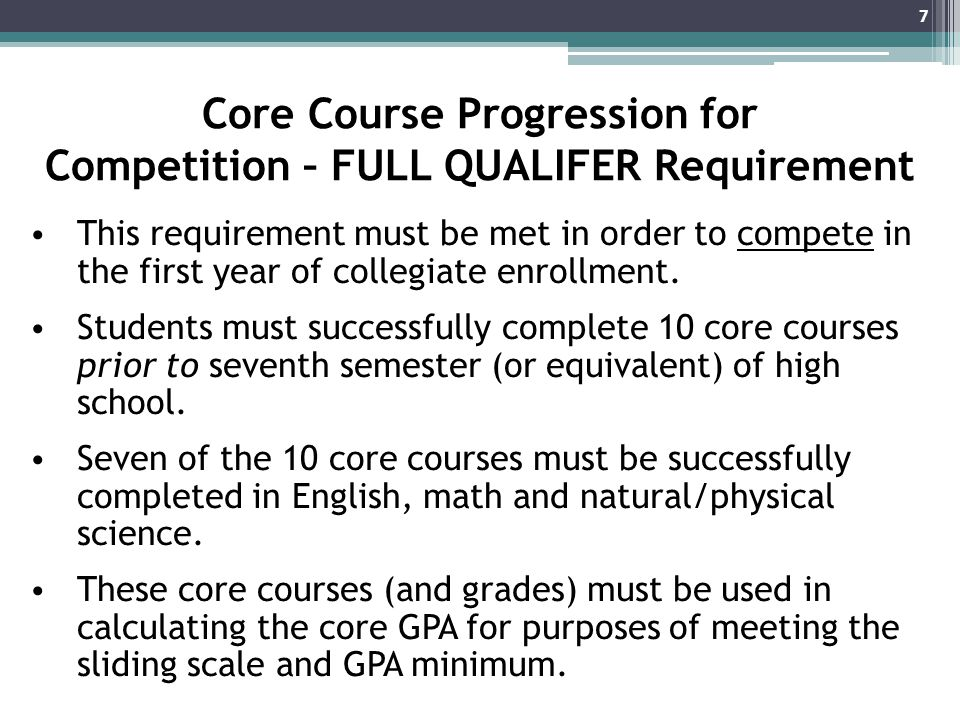 Core Course Progression for Competition – FULL QUALIFER Requirement This requirement must be met in order to compete in the first year of collegiate enrollment.