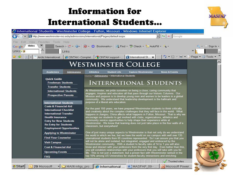 Information for International Students…
