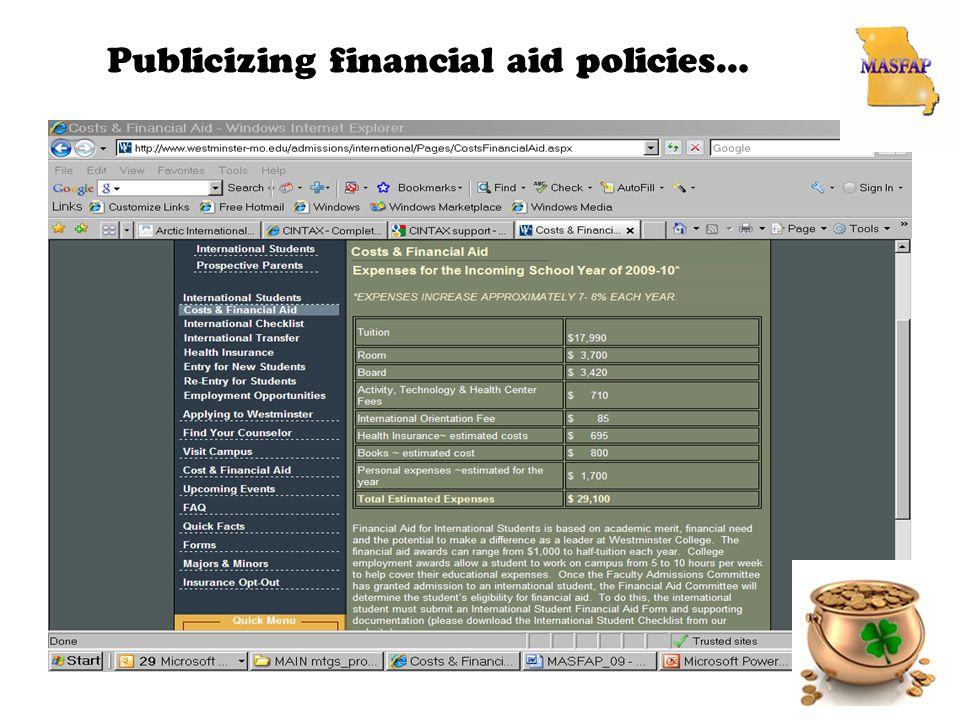 Publicizing financial aid policies…