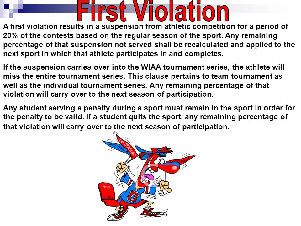 A first violation results in a suspension from athletic competition for a period of 20% of the contests based on the regular season of the sport.