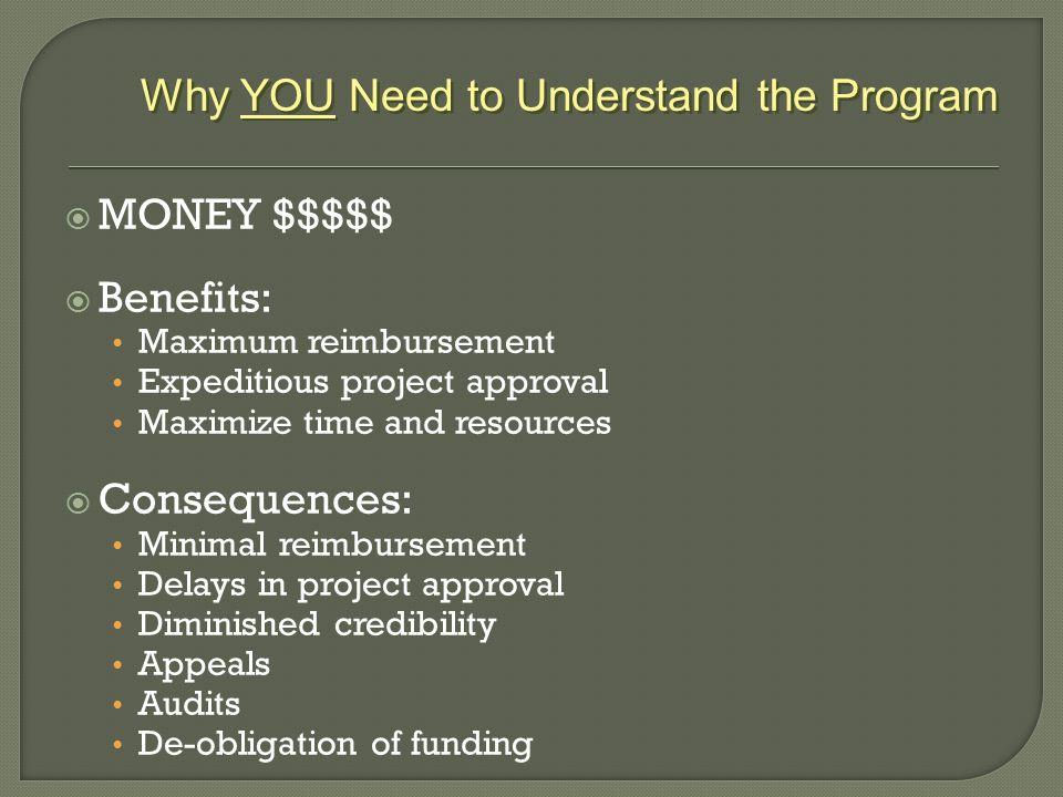  MONEY $$$$$  Benefits: Maximum reimbursement Expeditious project approval Maximize time and resources  Consequences: Minimal reimbursement Delays