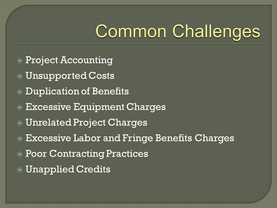  Project Accounting  Unsupported Costs  Duplication of Benefits  Excessive Equipment Charges  Unrelated Project Charges  Excessive Labor and Fri