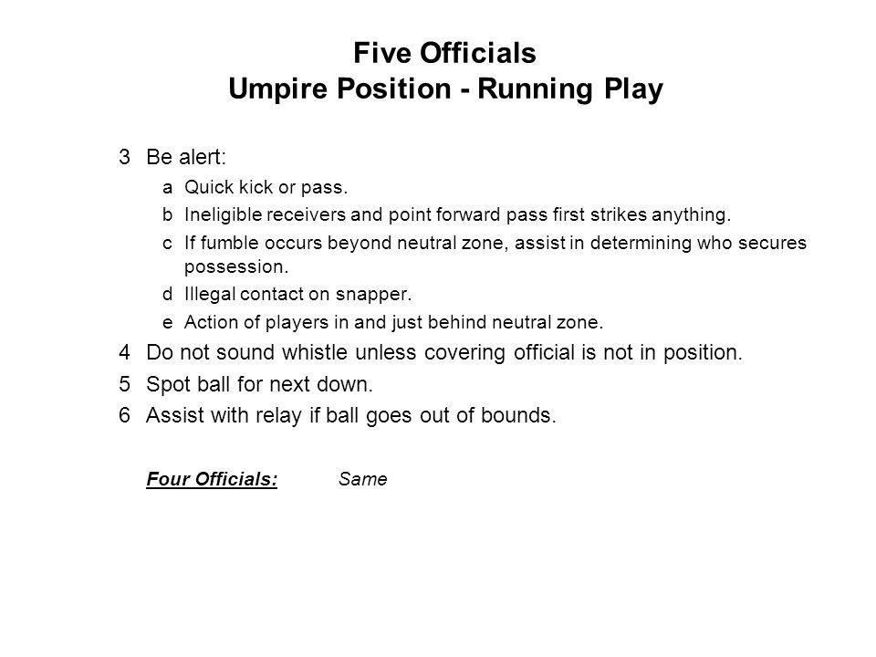 Five Officials Umpire Position - Running Play 3Be alert: aQuick kick or pass.