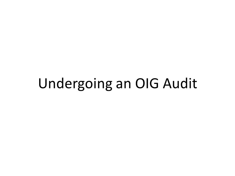 Undergoing an OIG Audit