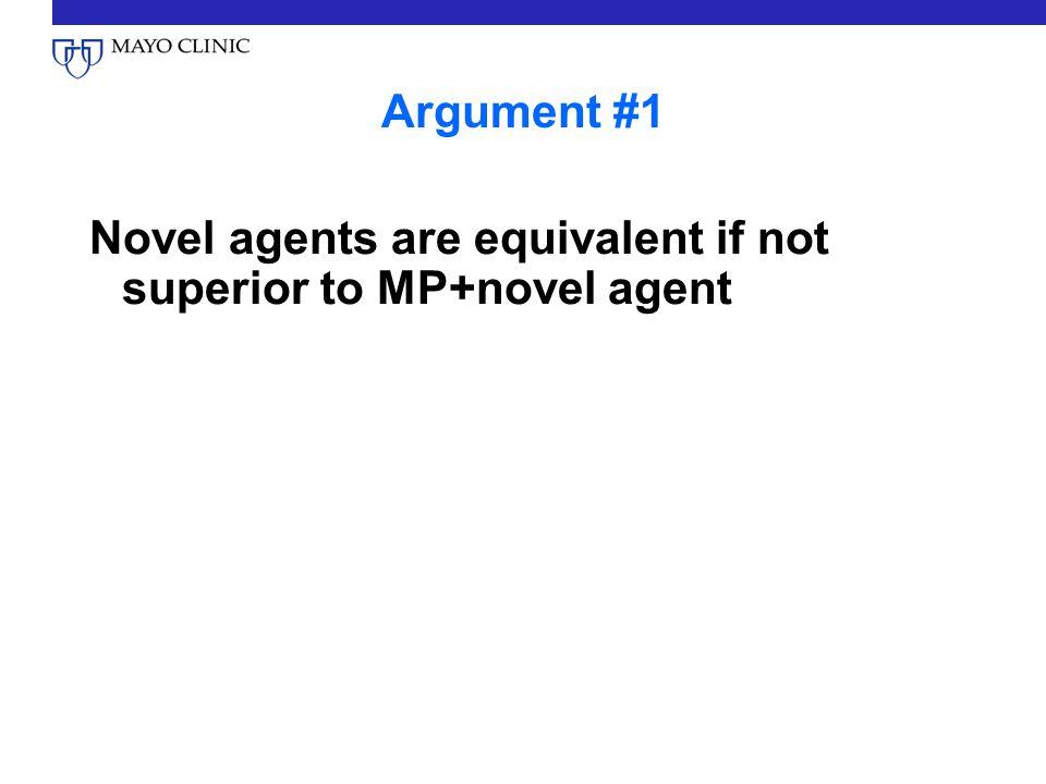 Conclusion #1 MP is not necessary Lenalidomide-dexamethasone and bortezomib-dexamethasone are effective and viable options
