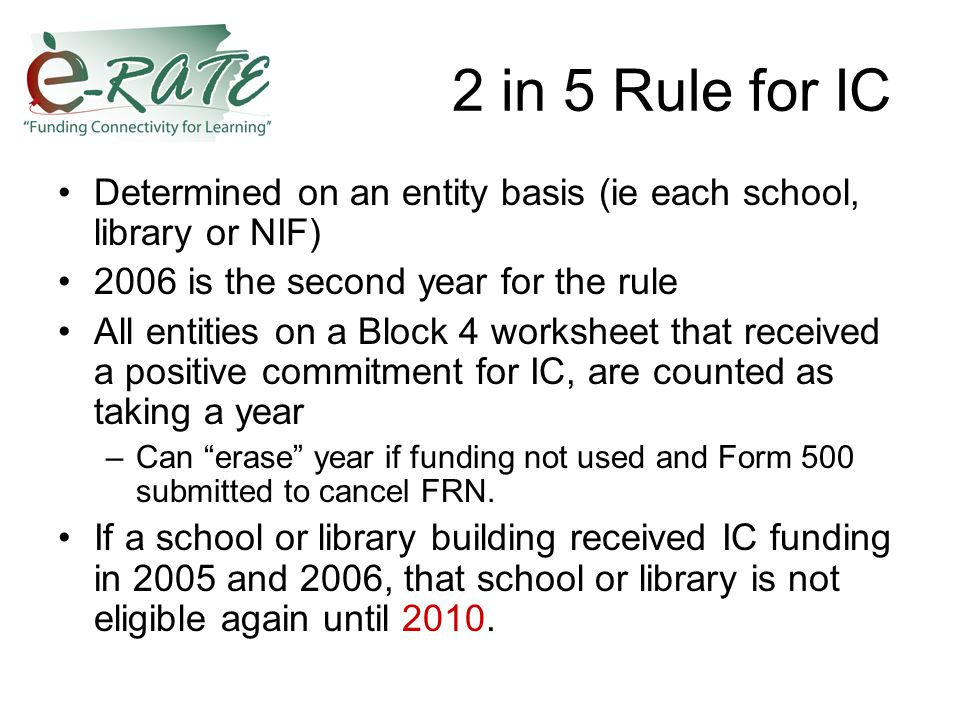 2 in 5 Rule for IC Determined on an entity basis (ie each school, library or NIF) 2006 is the second year for the rule All entities on a Block 4 worksheet that received a positive commitment for IC, are counted as taking a year –Can erase year if funding not used and Form 500 submitted to cancel FRN.