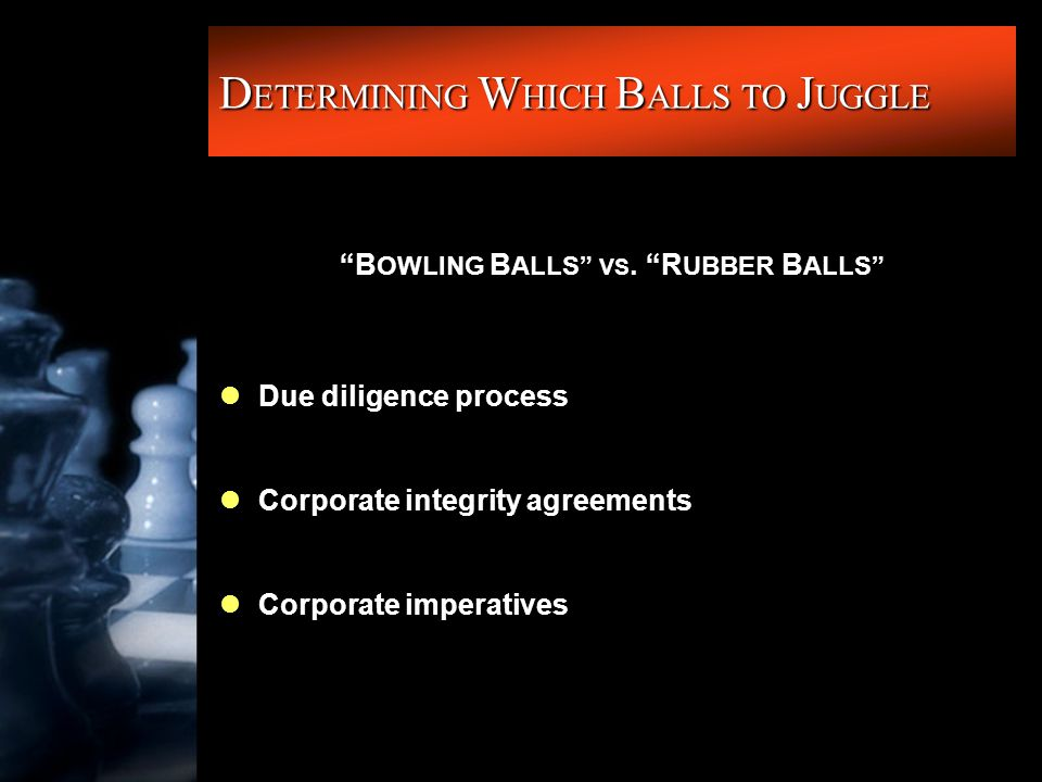"""D ETERMINING W HICH B ALLS TO J UGGLE """"B OWLING B ALLS"""" VS. """"R UBBER B ALLS"""" lDue diligence process lCorporate integrity agreements lCorporate imperat"""