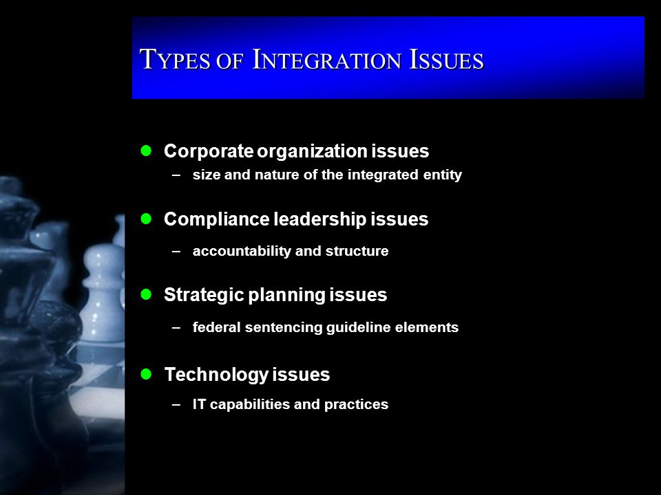 T YPES OF I NTEGRATION I SSUES lCorporate organization issues –size and nature of the integrated entity lCompliance leadership issues –accountability and structure lStrategic planning issues –federal sentencing guideline elements lTechnology issues –IT capabilities and practices