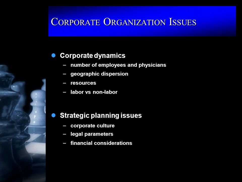 C ORPORATE O RGANIZATION I SSUES lCorporate dynamics –number of employees and physicians –geographic dispersion –resources –labor vs non-labor lStrategic planning issues –corporate culture –legal parameters –financial considerations