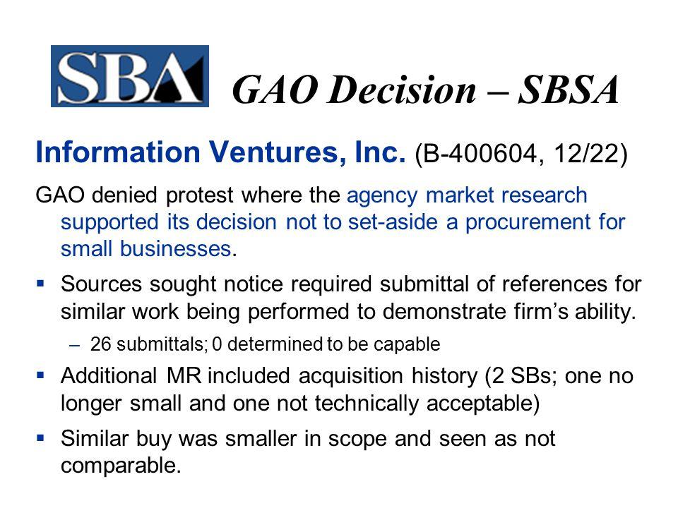 GAO Decision – SBSA Information Ventures, Inc.