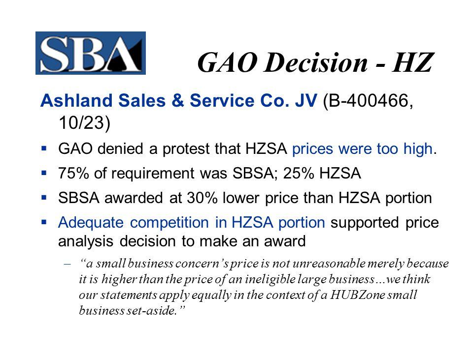 GAO Decision - HZ Ashland Sales & Service Co.