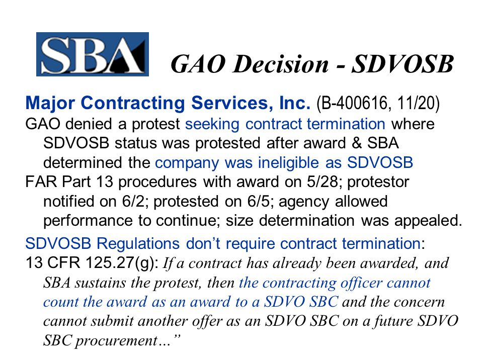 GAO Decision - SDVOSB Major Contracting Services, Inc.