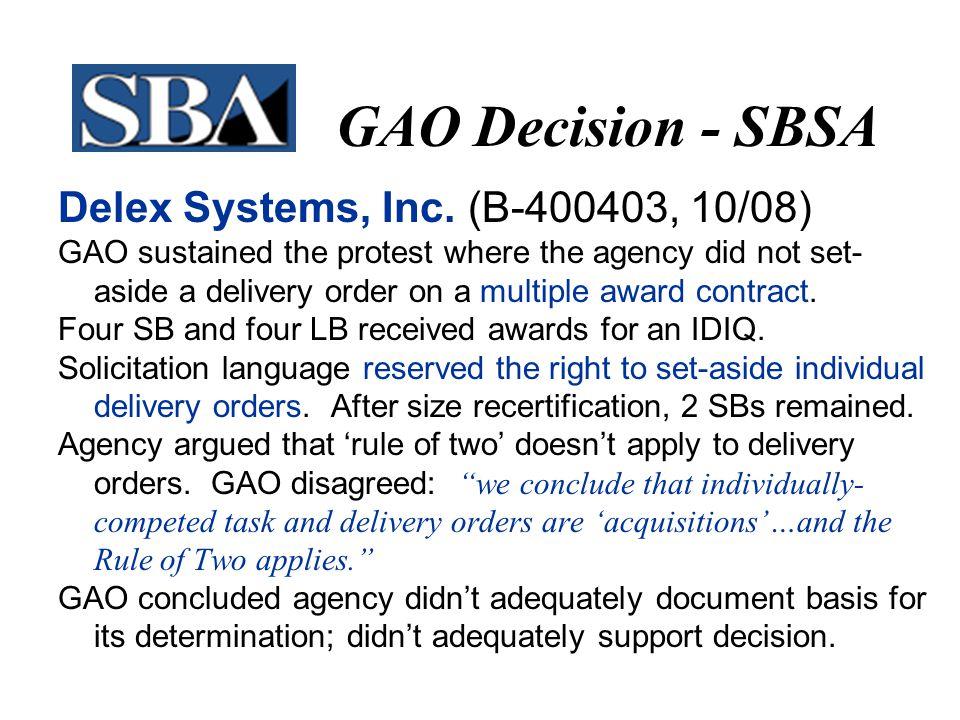 GAO Decision - SBSA Delex Systems, Inc.