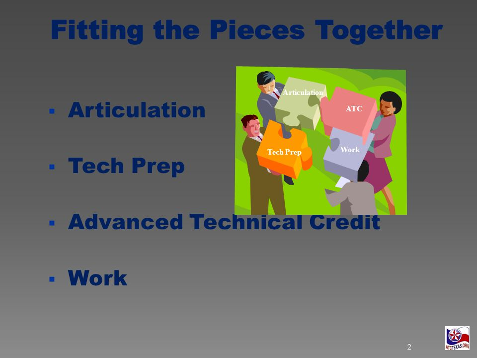  Articulation  Tech Prep  Advanced Technical Credit  Work Tech Prep Work ATC Articulation 2