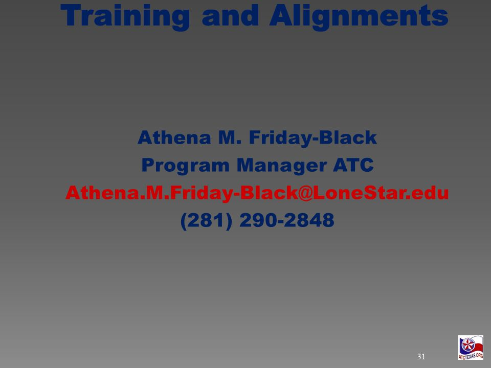 Athena M. Friday-Black Program Manager ATC Athena.M.Friday-Black@LoneStar.edu (281) 290-2848 31
