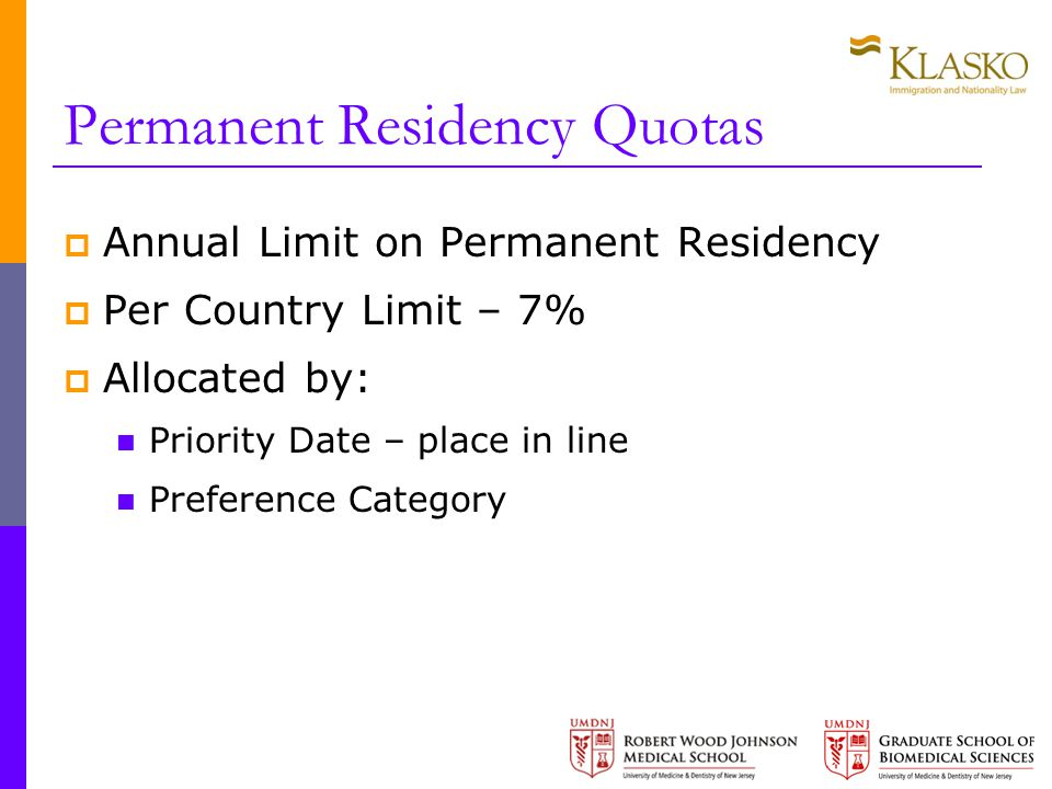 Permanent Residency Quotas  Annual Limit on Permanent Residency  Per Country Limit – 7%  Allocated by: Priority Date – place in line Preference Category