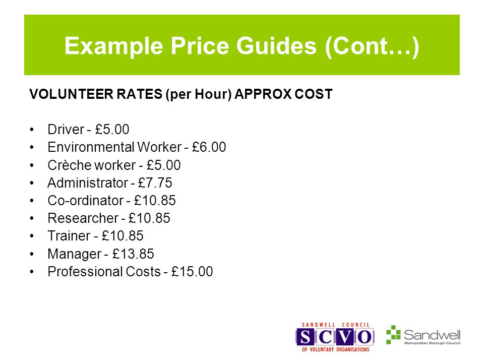 Example Price Guides (Cont…) VOLUNTEER RATES (per Hour) APPROX COST Driver - £5.00 Environmental Worker - £6.00 Crèche worker - £5.00 Administrator - £7.75 Co-ordinator - £10.85 Researcher - £10.85 Trainer - £10.85 Manager - £13.85 Professional Costs - £15.00