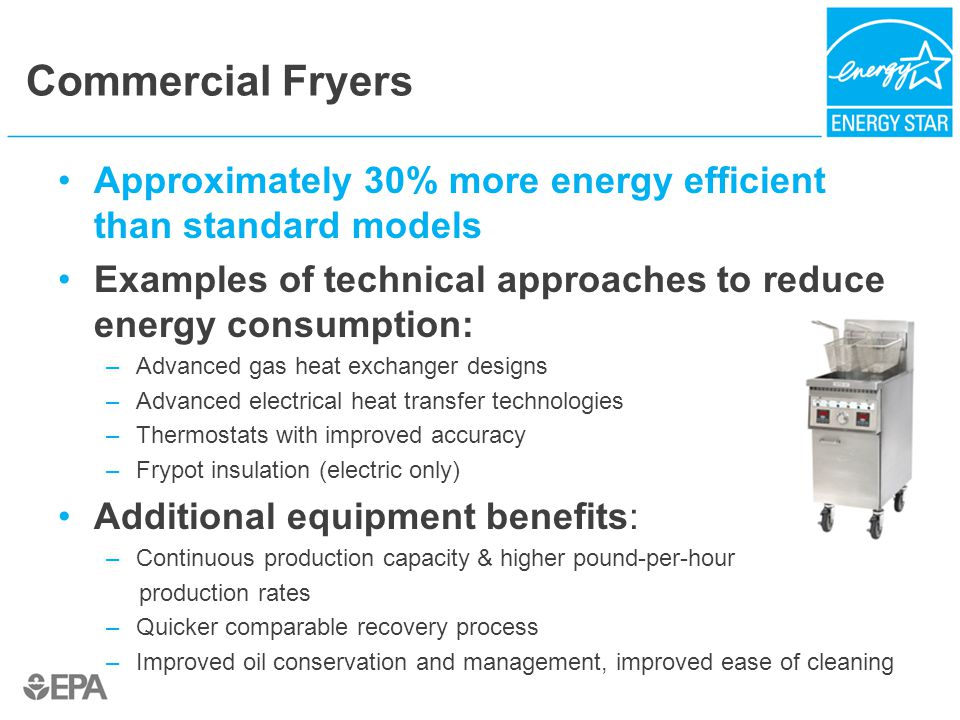 Commercial Fryers Approximately 30% more energy efficient than standard models Examples of technical approaches to reduce energy consumption: –Advance