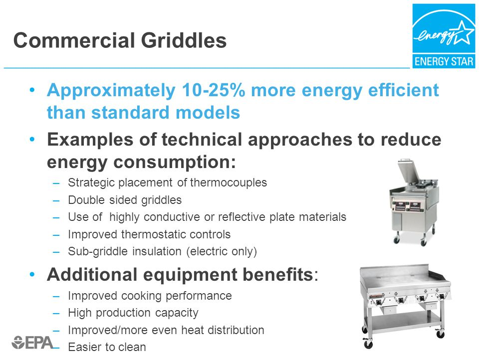 Commercial Griddles Approximately 10-25% more energy efficient than standard models Examples of technical approaches to reduce energy consumption: –Strategic placement of thermocouples –Double sided griddles –Use of highly conductive or reflective plate materials –Improved thermostatic controls –Sub-griddle insulation (electric only) Additional equipment benefits: –Improved cooking performance –High production capacity –Improved/more even heat distribution –Easier to clean