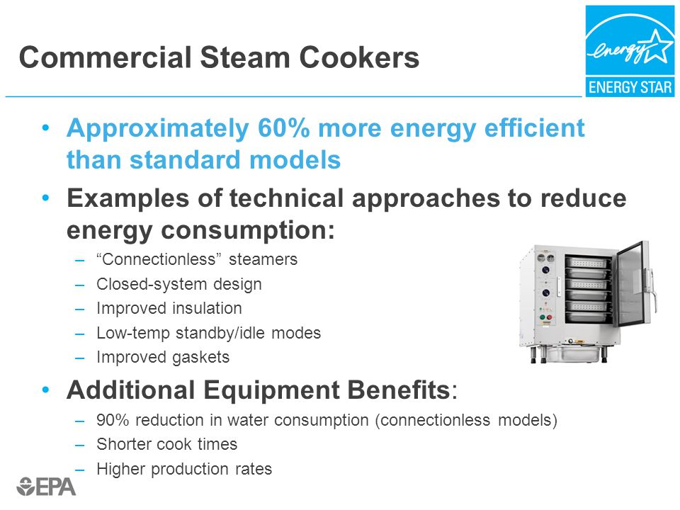 Commercial Steam Cookers Approximately 60% more energy efficient than standard models Examples of technical approaches to reduce energy consumption: – Connectionless steamers –Closed-system design –Improved insulation –Low-temp standby/idle modes –Improved gaskets Additional Equipment Benefits: –90% reduction in water consumption (connectionless models) –Shorter cook times –Higher production rates
