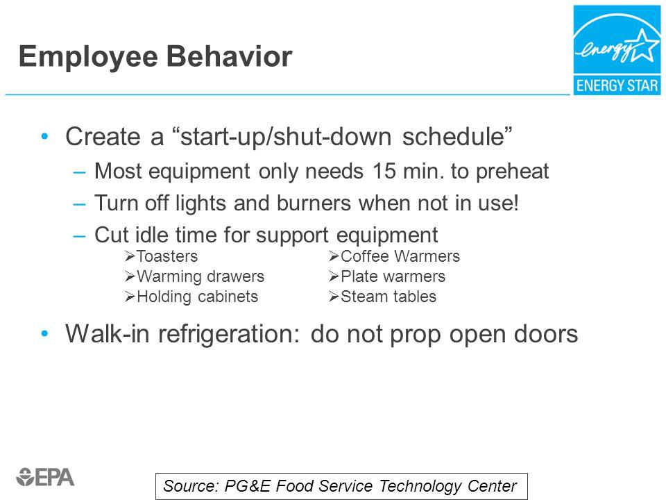 Employee Behavior Create a start-up/shut-down schedule –Most equipment only needs 15 min.