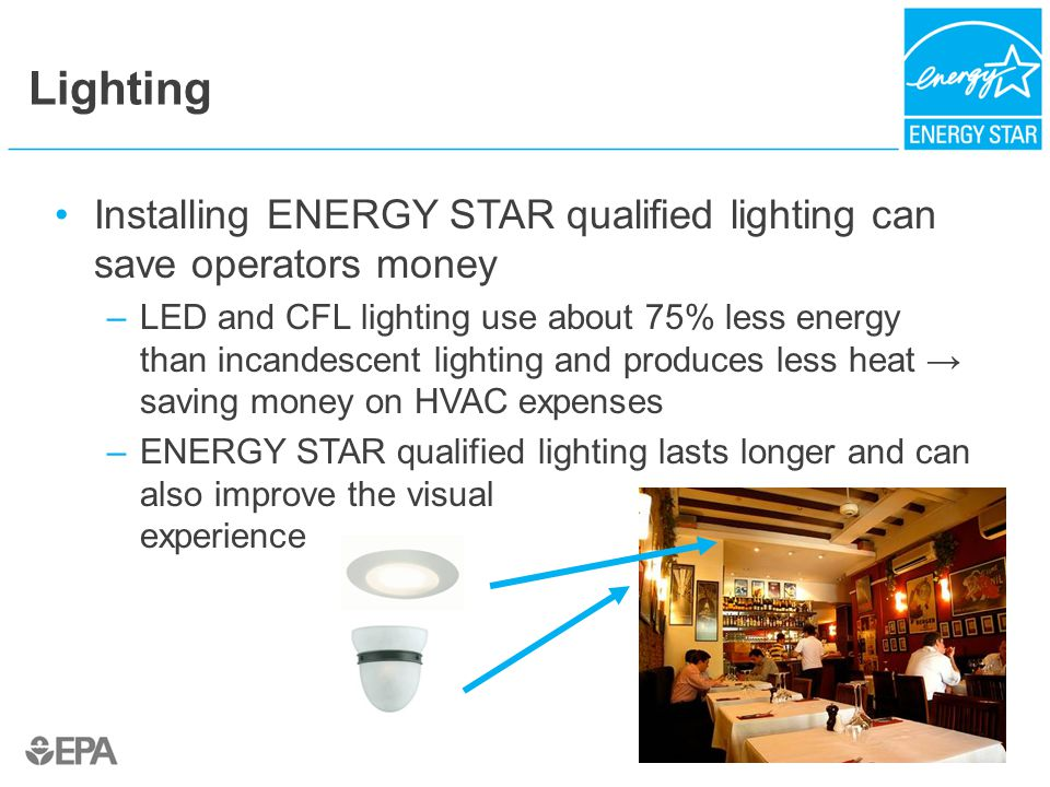 Lighting Installing ENERGY STAR qualified lighting can save operators money –LED and CFL lighting use about 75% less energy than incandescent lighting