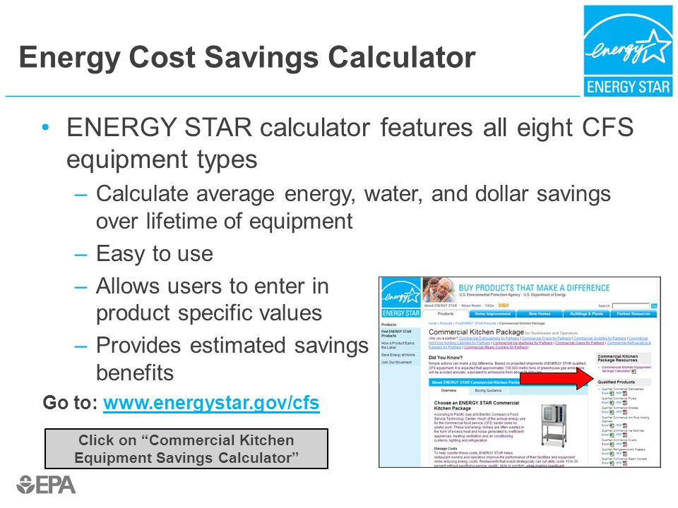 Energy Cost Savings Calculator ENERGY STAR calculator features all eight CFS equipment types –Calculate average energy, water, and dollar savings over lifetime of equipment –Easy to use –Allows users to enter in product specific values –Provides estimated savings benefits Go to: www.energystar.gov/cfswww.energystar.gov/cfs Click on Commercial Kitchen Equipment Savings Calculator