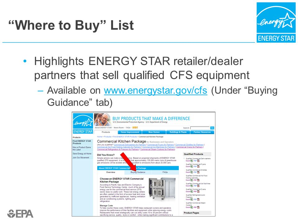 """""""Where to Buy"""" List Highlights ENERGY STAR retailer/dealer partners that sell qualified CFS equipment –Available on www.energystar.gov/cfs (Under """"Buy"""