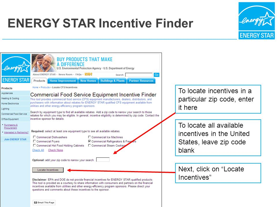"""Next, click on """"Locate Incentives"""" To locate incentives in a particular zip code, enter it here To locate all available incentives in the United State"""